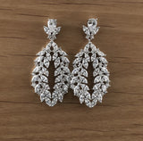 Bridal Cubic Zirconia Earrings, 18K Plated with Black Cubic Zirconia Black OR Silver