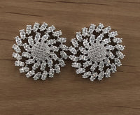 Round Button Shape Studs, Bridal Cubic Zirconia Earrings, 18K Plated | Fashion Jewellery Outlet
