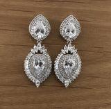 Almond Shape, Teardrop Bridal Cubic Zirconia Earrings, 18K Plated | Fashion Jewellery Outlet