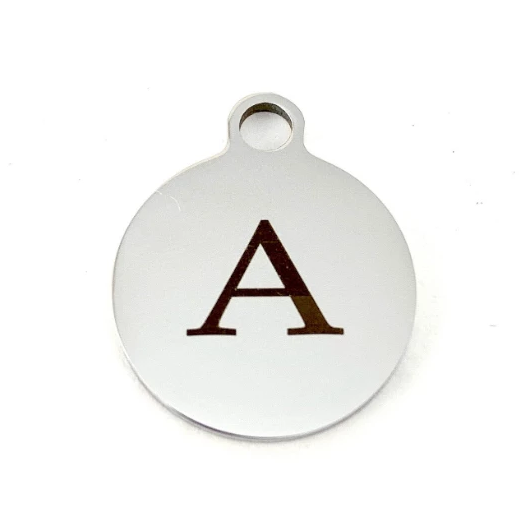 Initial Letter Round Personalized Charm | Fashion Jewellery Outlet