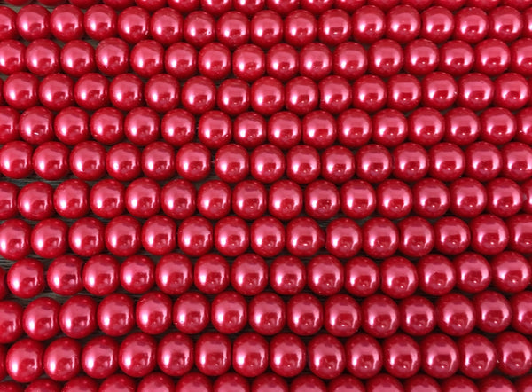 8mm Faux Glass Pearl beads, Burgundy