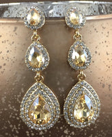 Crystal 3 Tier Teardrop Earrings, Champagne | Fashion Jewellery Outlet