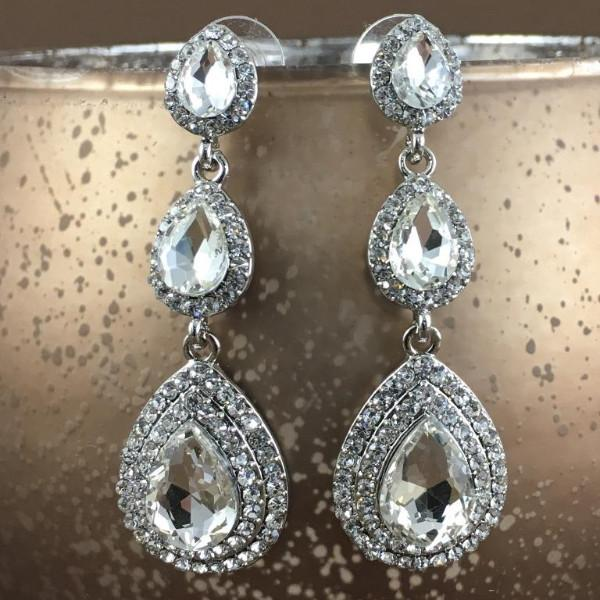 Crystal 3 Tier Teardrop Earrings, Silver | Fashion Jewellery Outlet