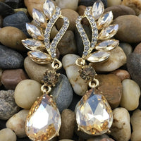 Crystal Marquise Teardrop Earrings, Champagne | Fashion Jewellery Outlet