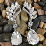 Crystal Marquise Teardrop Earrings, Silver | Fashion Jewellery Outlet