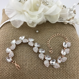 Crystal Collection, Elegant Leaf Shape Rose Gold Bridal Bracelet | Fashion Jewellery Outlet