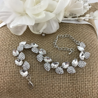 Crystal Collection, Elegant Leaf Shape Silver Bridal Bracelet
