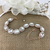 Crystal Oval Shape Rose Gold Bridal Bracelet | Fashion Jewellery Outlet