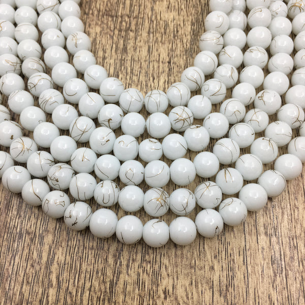 8mm Faux Glass Pearl Bead, White Marble