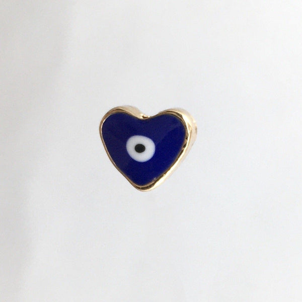 Alloy Evil Eye Heart Shaped Navy Blue Bead, 5 Piece