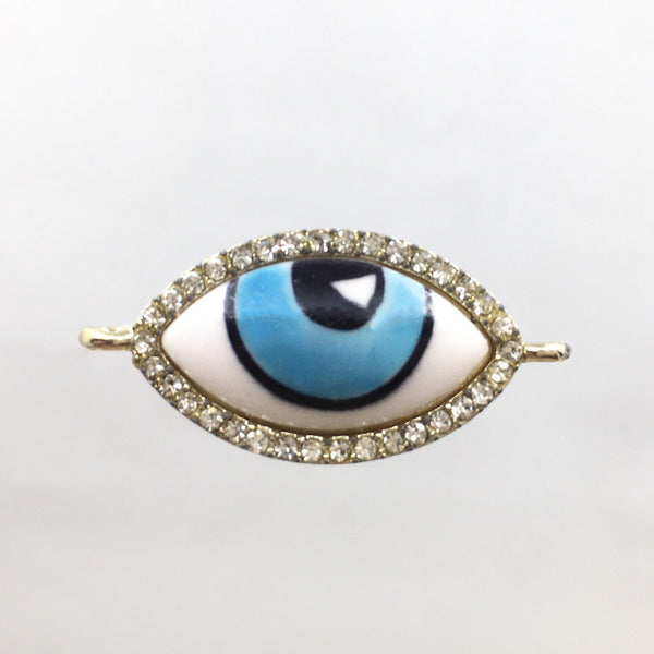 Alloy Evil Eye with Rhinestone Connector, Gold
