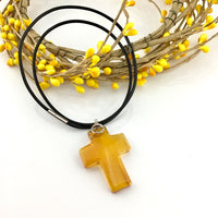 2 Glass Cross Pendant, Golden Shadow | Fashion Jewellery Outlet