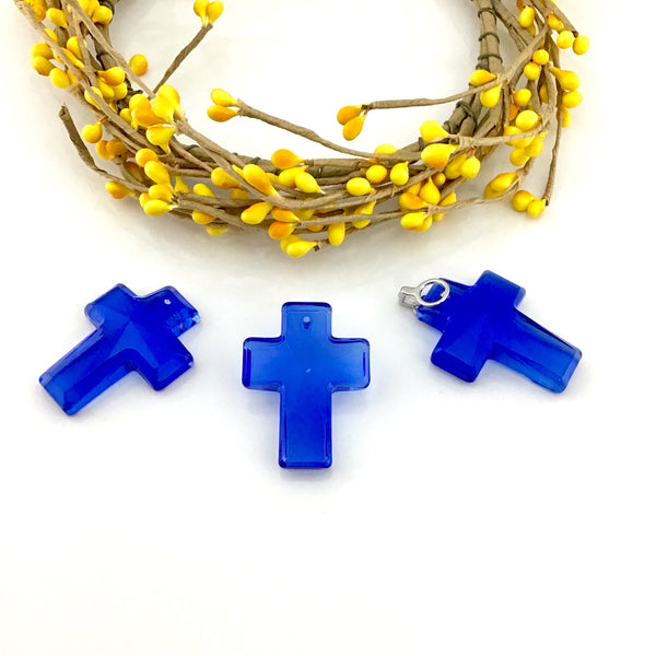 2 Glass Cross Pendant, Blue | Fashion Jewellery Outlet