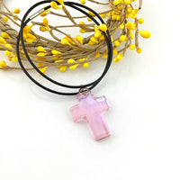 2 Glass Cross Pendant, Rosaline Pink | Fashion Jewellery Outlet