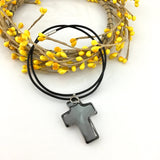 2 Glass Cross Pendant, Silver Night Grey | Fashion Jewellery Outlet
