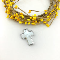 2 Glass Cross Pendant, Silver Argentia | Fashion Jewellery Outlet