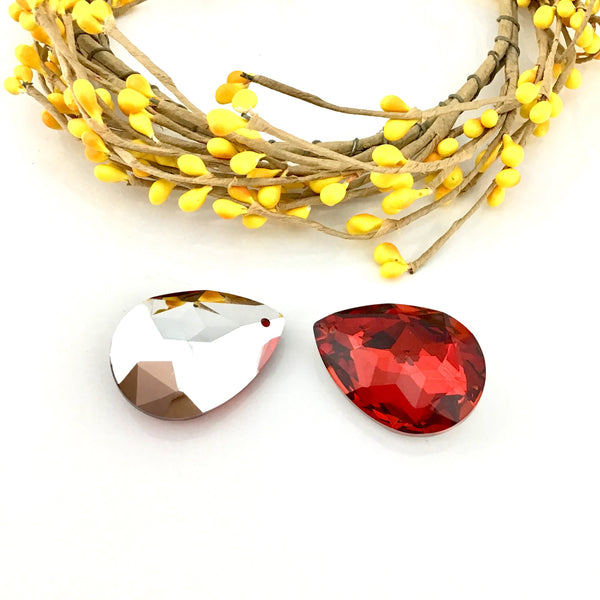 Glass Teardrop Pendant, Siam Red | Fashion Jewellery Outlet