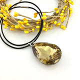 Glass Teardrop Pendant, Topaz | Fashion Jewellery Outlet