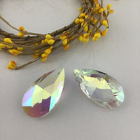 Glass Teardrop Pendant, Clear AB | Fashion Jewellery Outlet