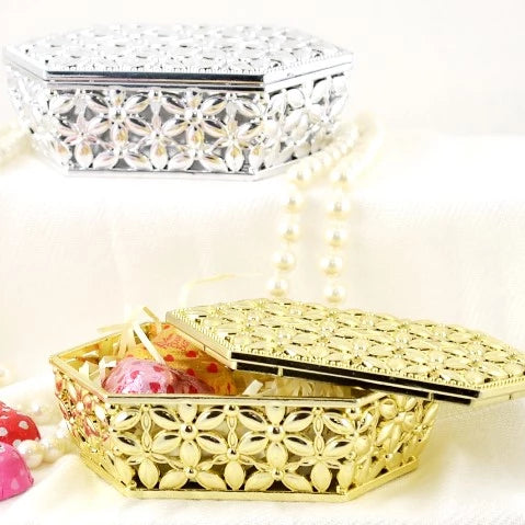 Hexagon Candy Box, Gold | Fashion Jewellery Outlet