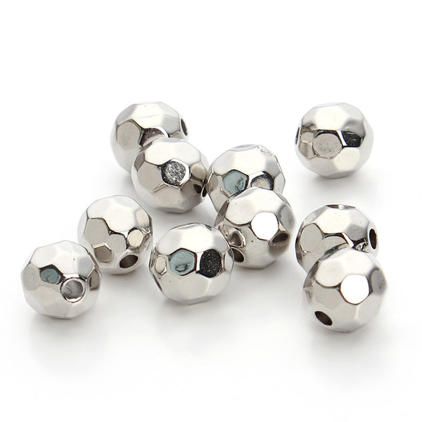 Acrylic Loose Bead, Silver | Fashion Jewellery Outlet