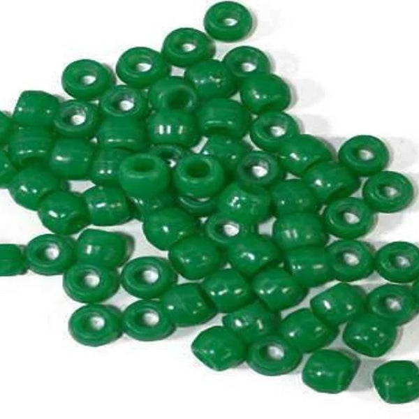 Plastic Beads, 4X6 Pony Beads, Dark Green | Fashion Jewellery Outlet