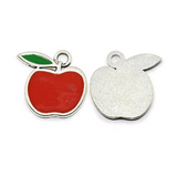 Alloy Red Apple Charm, Enamel Charm | Fashion Jewellery Outlet