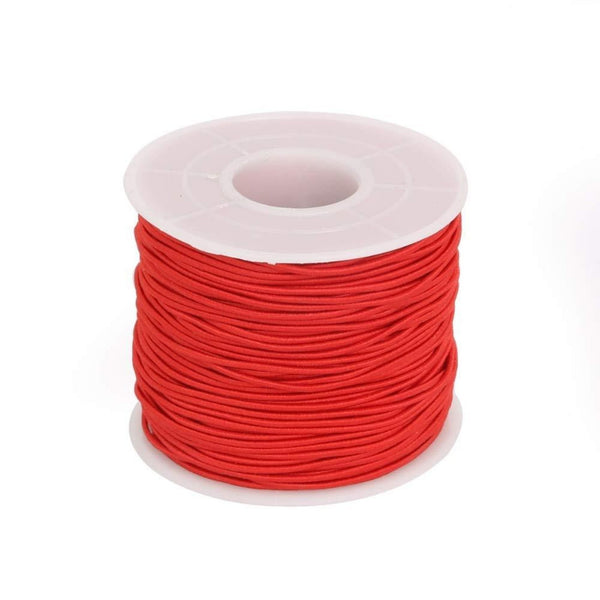 Elastic Cord 0.8mm Thick, 15 meter Roll, Red | Fashion Jewellery Outlet