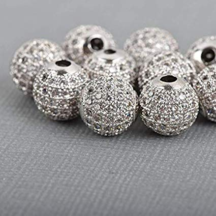 6mm CZ Pave Bead Round Silver Bead | Fashion Jewellery Outlet