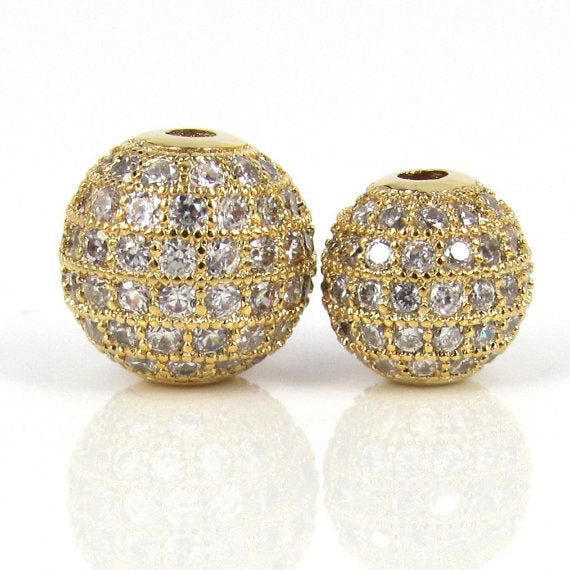 10mm CZ Pave Bead Round Gold Bead | Fashion Jewellery Outlet