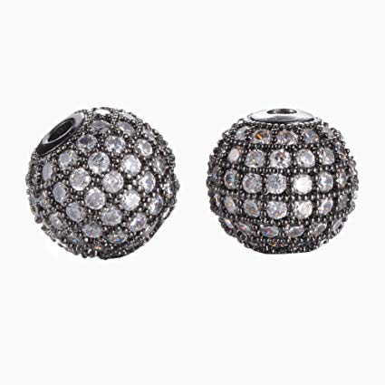 10mm CZ Pave Bead Round Gunmetal Bead | Fashion Jewellery Outlet