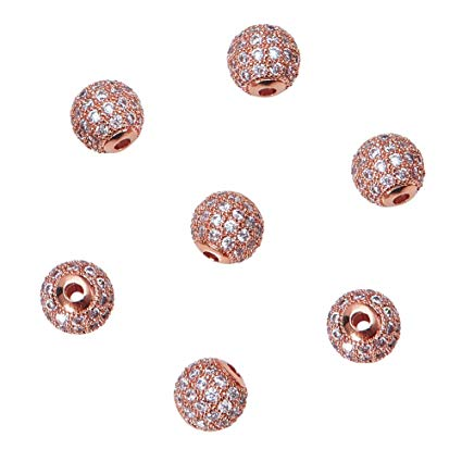 10mm CZ Pave Round Rose Gold Bead | Fashion Jewellery Outlet