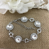 Crystal Collection, Round Shape Silver Bridal Bracelet | Fashion Jewellery Outlet