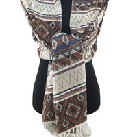 Tribal Print Pashmina Scarf Brown | Fashion Jewellery Outlet
