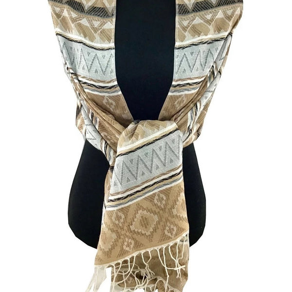 Printed Scarf Beige | Fashion Jewellery Outlet