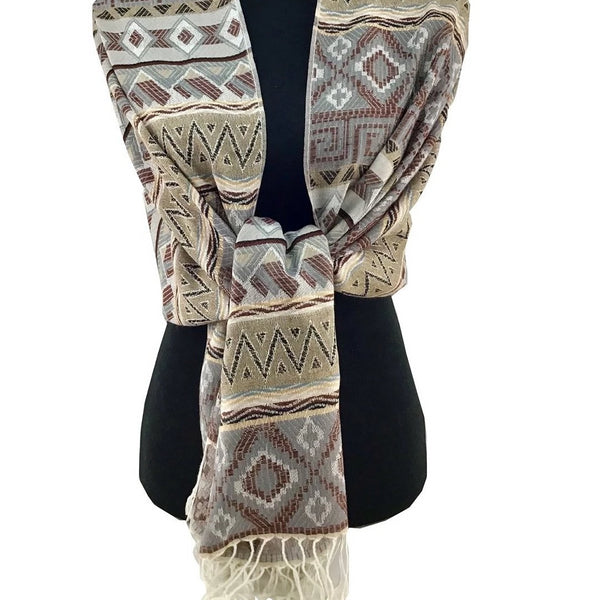 Tribal Print Grey Pashmina Scarf | Fashion Jewellery Outlet