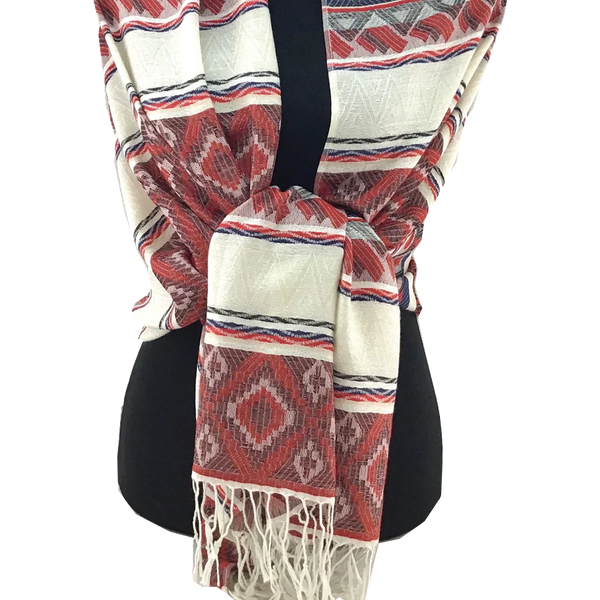Tribal Print Burgundy Pashmina Scarf | Fashion Jewellery Outlet