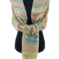 Floral Tribal Print Beige Pashmina Scarf | Fashion Jewellery Outlet