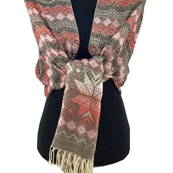 Floral Tribal Print Shaded Pashmina Scarf | Fashion Jewellery Outlet