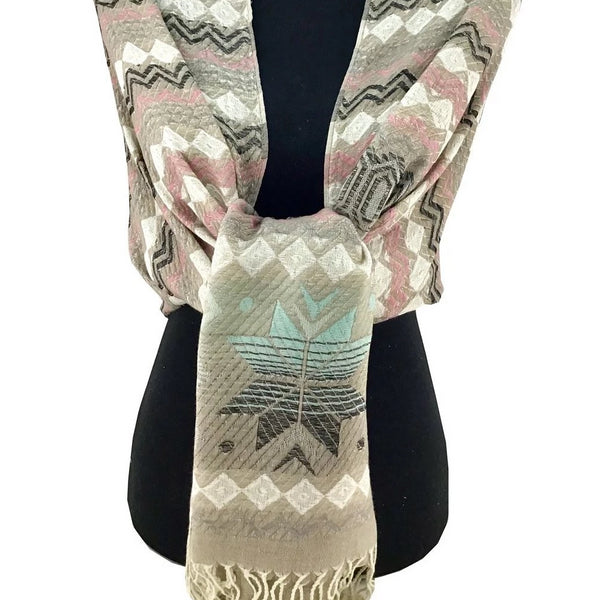 Floral Tribal Print Light Grey Shaded Pashmina | Fashion Jewellery Outlet