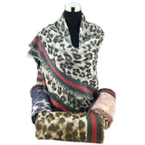 Leopard Print Grey Blanket Scarf | Fashion Jewellery Outlet