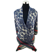 Leopard Print Blue Blanket Scarf | Fashion Jewellery Outlet