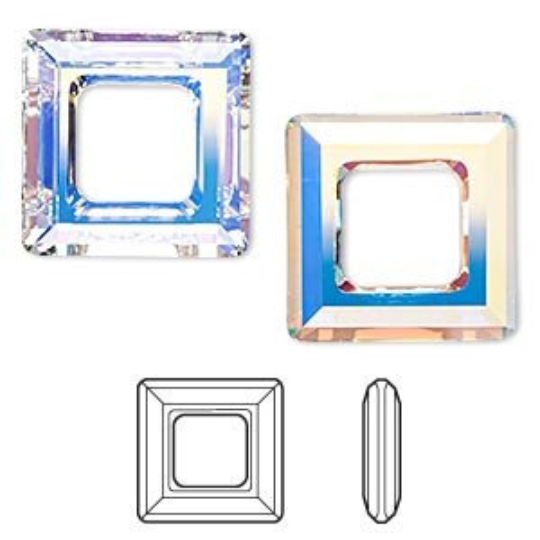 Swarovski Square Ring Pendant 4439, Crystal AB | Fashion Jewellery Outlet