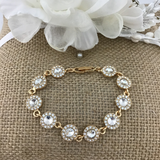 Crystal Collection, Stunning Round Shape Gold Bridal Bracelet | Fashion Jewellery Outlet