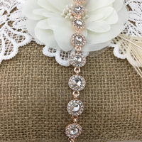 Crystal Collection, Stunning Round Shape Rose Gold Bridal Bracelet | Fashion Jewellery Outlet