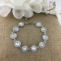 Crystal Collection, Stunning Round Shape Silver Bridal Bracelet | Fashion Jewellery Outlet