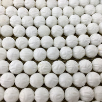 8mm White Tridacna Carved Lotus Flower Bead| Fashion Jewellery Outlet