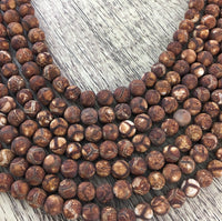 8mm Frosted Wood Agate Beads | Fashion Jewellery Outlet
