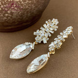 Crystal Baguette Marquise Earrings Gold Jewellery | Fashion Jewellery Outlet