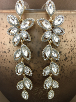 Crystal Flower Designer Inspired Earrings, Gold | Fashion Jewellery Outlet